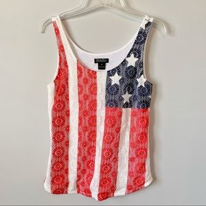 Lucky Brand American Flag Lace Tank Like New